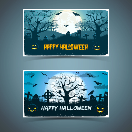 Happy halloween banners with white frame animals old trees cemetery on huge moon background isolated vector illustration