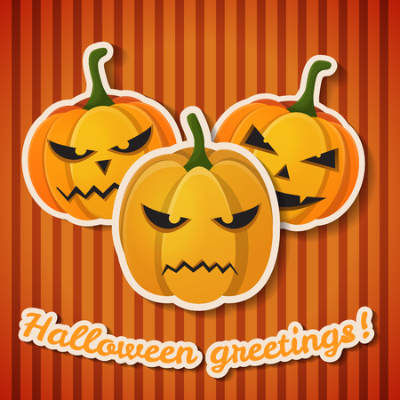 Happy Halloween greeting template with paper inscription and evil angry pumpkins on orange striped background vector illustration