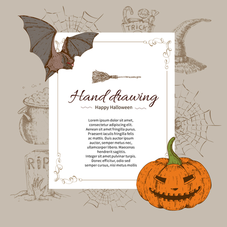 Halloween letter template with decorative frame bat and pumpkin on hand drawn holiday elements background vector illustration