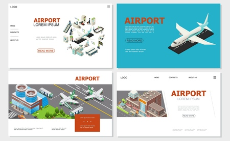 Isometric airport websites collection with airplane buildings airlines customs and passport controls check-in desk buses passengers escalator baggage conveyor belt vector illustration