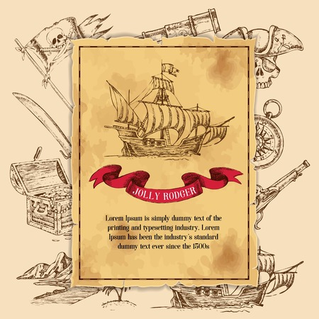 Hand drawn pirates elements with ships flags and treasure chest images overlaid by decorative background poster vector illustration