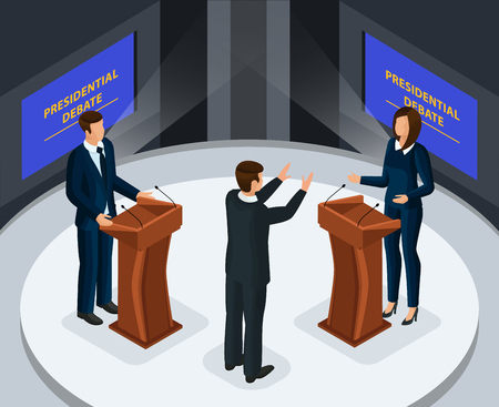 Isometric presidential debates concept with male and female candidates on tv program before election vector illustration Vetores