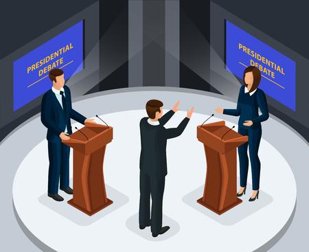 Isometrisches Präsidentendebattenkonzept mit männlichen und weiblichen Kandidaten im Fernsehprogramm vor der Wahlvektorillustration Vektorgrafik
