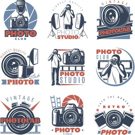 Isolated vintage photographer labels emblems with professional photo studio equipment stands reflector cameras and photographer symbols vector illustration