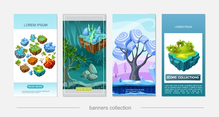 Isometric game nature design vertical banners with desert waterfall volcano forest lake palms ice surface dry tree on flying islands stones minerals vector illustration Illustration