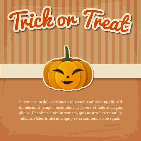 Happy Halloween greeting poster with paper inscription and smiling pumpkin on light striped background vector illustration