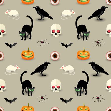 Traditional Halloween seamless pattern with skull black cat raven bat spider pumpkin rat human eye vector illustration Vector Illustration