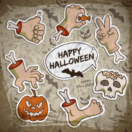 Halloween greeting concept with paper zombie arms leg pumpkin skull on line icons seamless pattern vector illustration