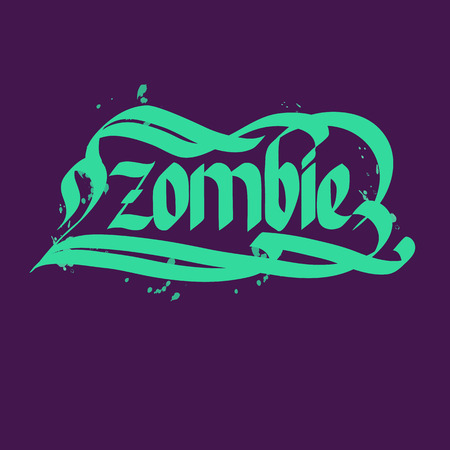 Halloween zombie typographical concept background with green letters flat vector illustration