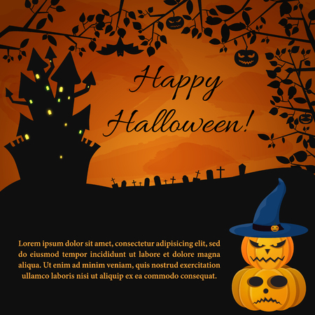 Festive Halloween Party poster with haunted house scary pumpkins and tree twigs on sunset background vector illustration Illustration