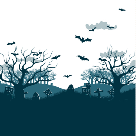 Traditional holiday Halloween night party poster with two dead trees at white background, bats flying over graves and cemetery crosses, grey clouds flat vector illustration