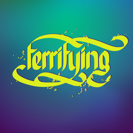 Typographical concept with word terrifying on gradient background flat vector illustration