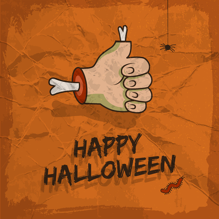 Happy halloween design with approval gesture hanging spider and worm on textured terracotta background vector illustration Illustration