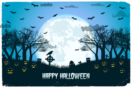 Halloween night with lanterns of jack and cemetery flying bats on huge moon background vector illustration