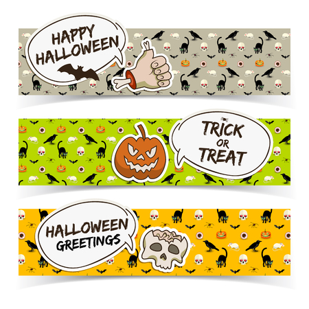 Halloween horizontal banners with speech clouds paper zombie arm pumpkin skull on icons background vector illustration