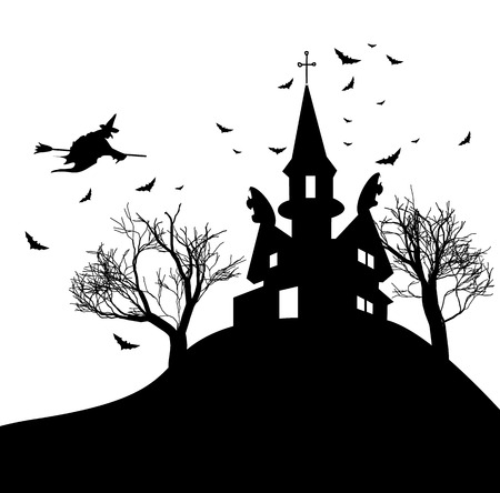 Happy Halloween party background with scary haunted house dead trees bats and witch on hill vector illustration