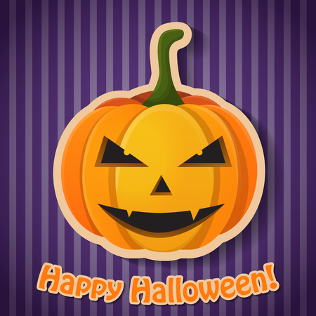 Celebrating Halloween party poster with inscription and paper evil pumpkin on purple striped background vector illustration