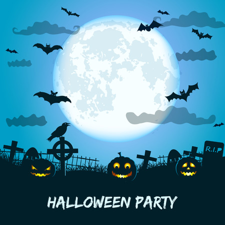 Halloween party with huge glowing moon lanterns of jack at cemetery bat and crow vector Illustration