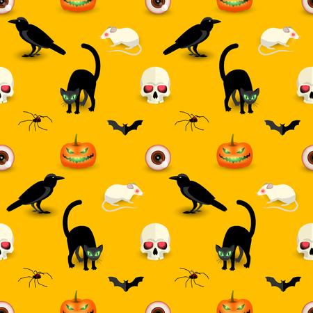 Horror Halloween orange seamless pattern with skull black cat raven bat spider pumpkin rat eye vector illustration