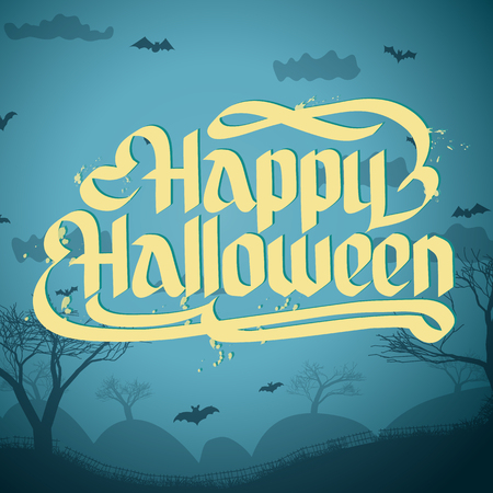 Happy Halloween typographical concept on scary forest background vector illustration 向量圖像