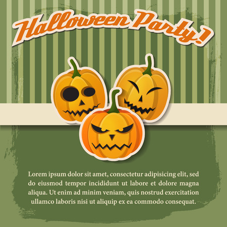 Happy Halloween festive poster with paper inscription and pumpkins with different expressions on green striped background vector illustration