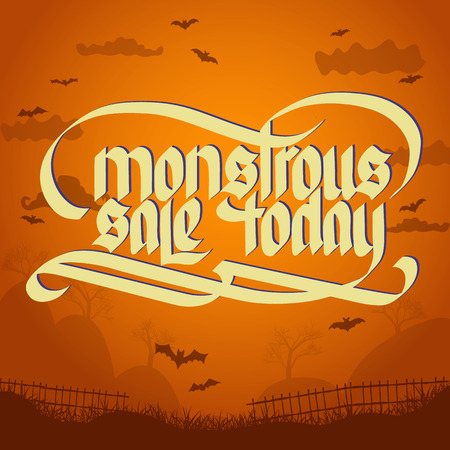 Monstrous sale halloween typographical concept on orange background with bats flat vector illustration