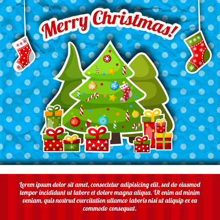 Merry christmas postcard with three eves decorated by the different toys, traditional symbols and gifts on the blue background with dots vector illustration Standard-Bild - 109323015