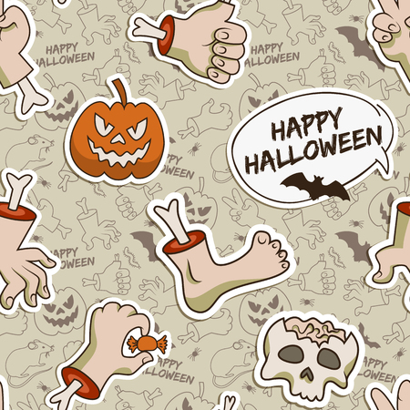 Gray Halloween seamless pattern with traditional paper elements on line icons background vector illustration 向量圖像