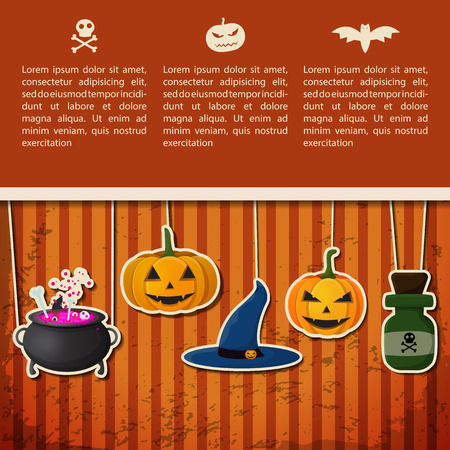 Happy Halloween greeting poster with text and paper hanging pumpkins witch hat cauldron poison bottle vector illustration