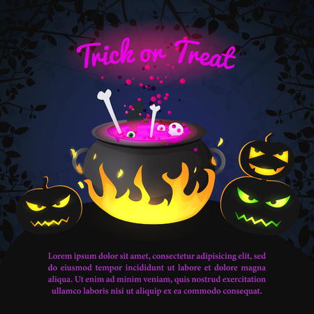 Greeting Halloween Holiday template with inscription witch pot with boiling potion scary pumpkins and tree branches vector illustration