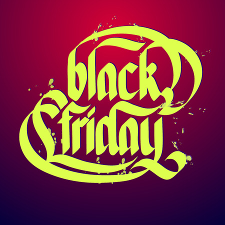 Black friday typographical concept on gradient background flat vector illustration
