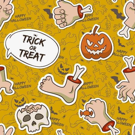 Cartoon Halloween seamless pattern with paper skull zombie arms leg creepy pumpkin caterpillar candy vector illustration Vector Illustration