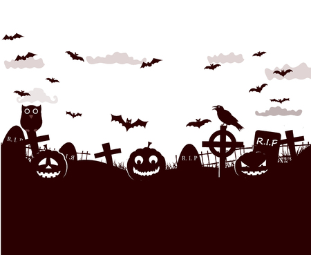 Halloween fantastic design poster with pictures of pumpkins faces, crow, flying bats and cemetery crosses on black and white background vector illustration