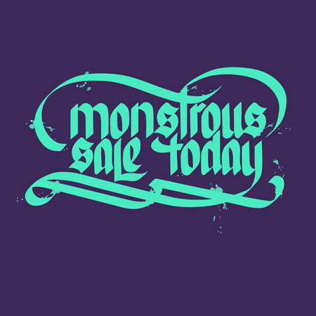 Monstrous sale concept with beautiful letters on dark background flat vector illustration