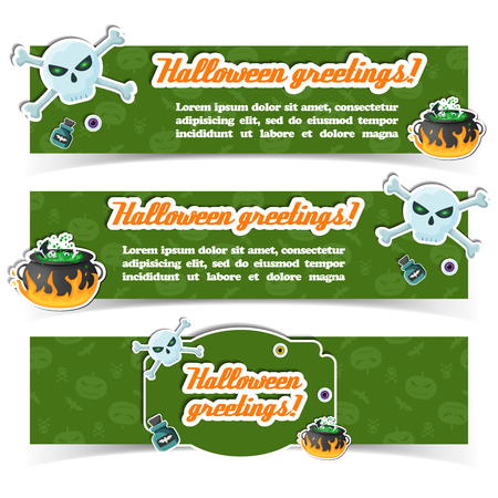 Happy Halloween party festive horizontal banners with text and traditional paper elements on green background vector illustration