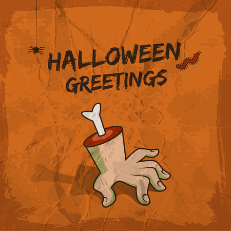 Halloween greetings design with severed hand hanging spider and worm on crumpled terracotta background vector illustration