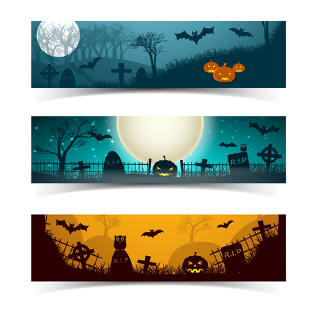 Set of halloween night horizontal banners with cemetery animals trees hills and moon isolated vector illustration