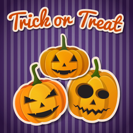 Halloween festive autumn template with paper inscription and pumpkins with different expressions on purple striped background vector illustration
