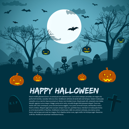 Happy Halloween background with lunar sky cemetery crosses pumpkins and bats flat vector illustration Illustration