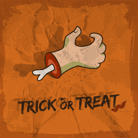 Trick or treat design in cartoon style with hand spider and worm on terracotta background vector illustration