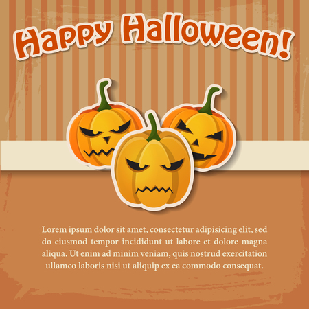 Happy Halloween greeting light poster with paper inscription and evil scary pumpkins stickers vector illustration