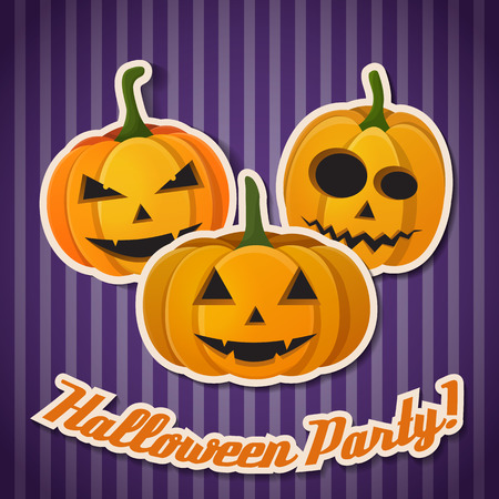 Abstract greeting Halloween poster with inscription and pumpkins with different emotions on purple striped background vector illustration