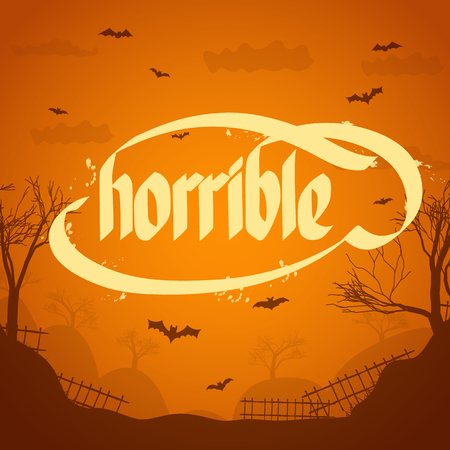 Flat design halloween typographical concept background with word horrible vector illustration