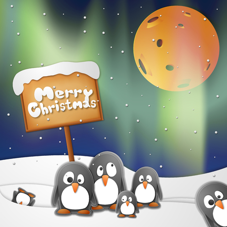 Merry Christmas background with penguins and snow symbols paper style vector illustration