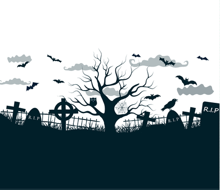 Halloween night background poster in black, white, grey colors with dark cemetery crosses, dead tree and bats at lunar sky vector illustration