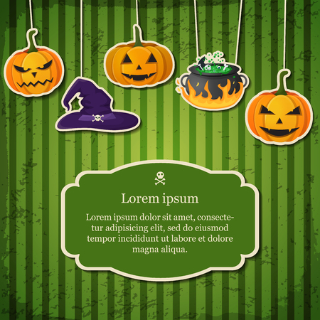Festive Happy Halloween traditional template with text in frame hanging pumpkins witch hat and cauldron vector illustration