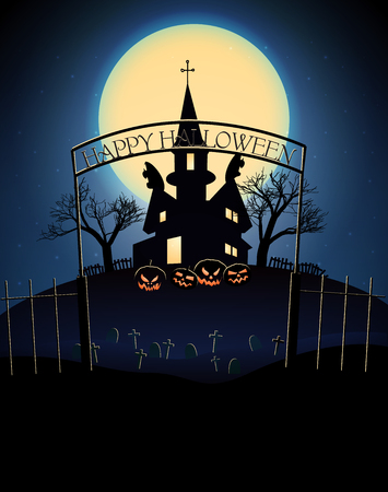 Happy Halloween poster with scary haunted house dead trees cemetery on blue full moon background vector illustration