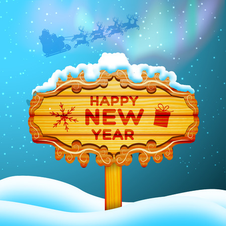 Happy new year background with wooden sign on snow flat vector illustration Stock Illustratie