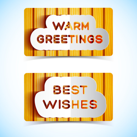 Best wishes and warm greetings letters on wooden wall background flat isolated vector illustration