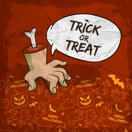 Traditional Halloween background with speech cloud zombie arm and creepy line icons vector illustration